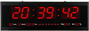 21.6 Inch Oversized LED Digital Wall Clock Large Display with Indoor Temperature Date and Day of Week,Electric Wall Clock/Calendar Timer Home Decor -Red