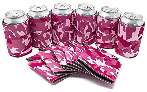 Tahoebay 12 Can Sleeves for Standard Cans Blank Poly Foam Beer Insulator Coolers (Pink Camo, 12)]()