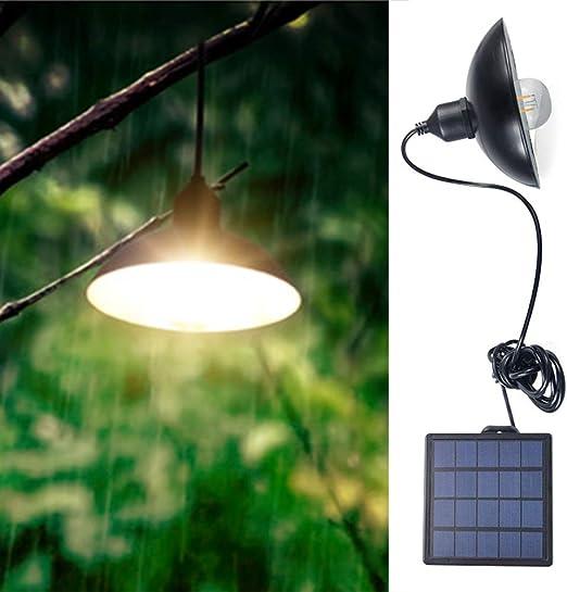 CVERY - Lámpara de Techo Solar para Exteriores, Estilo Vintage, con Panel Solar de ángulo Ajustable, luz LED de Encendido/Apagado automático, para decoración del hogar, jardín, Patio: Amazon.es: Jardín