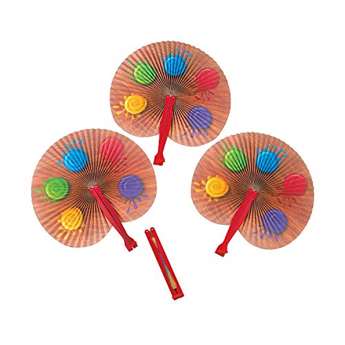 Fun Express - Artist Party Folding Fans for Birthday - Party Supplies - Favors - Fans - Birthday - 12 Pieces ()