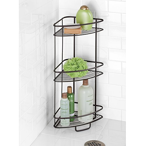Interdesign axis free standing bathroom or shower corner - Free standing corner bathroom shelves ...