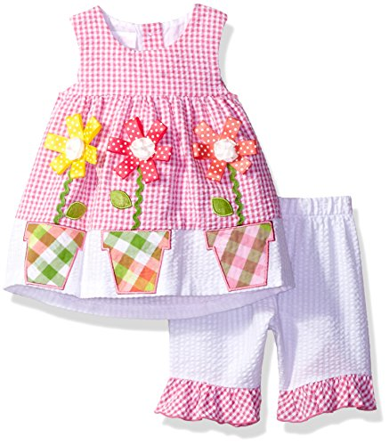 Bonnie Baby Baby Girls' Bunny Appliqued Seersucker Playwear Set, Fuchsia, 3-6 (Appliqued Bunny)