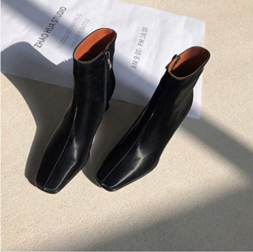 lonfenner Les Bottes,Bottines Femmes Confortable Souple Antidérapant Imperméable Boots for Women Square Toe Side Zipper Bottes Femmes Chaussures Noires,42