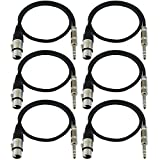 GLS Audio 2ft Patch Cable Cords - XLR Female to 1/4'' TRS Black Cables - 2' Balanced Snake Cord - 6 PACK
