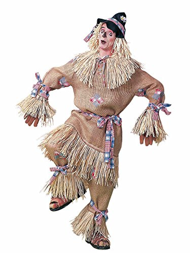(Men's Deluxe Scarecrow Costume, Beige/Plaid, One)