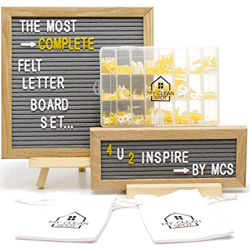 (MCS Felt Letter Board Set | 2 Oak Frames- 10x10 + 10 x 4 inch | 680 Changeable Letters, Numbers+Emoji | Organization Accessories - Plastic Storage Organizer, Wood Stand, 2 Canvas Bags | Bonus Gift Box)