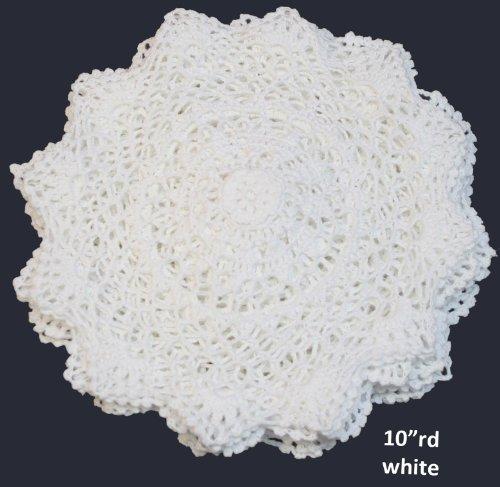 6PCS 10 Round Crochet Lace Doily WHITE 100% Cotton Handmade, Set of 6 Pieces