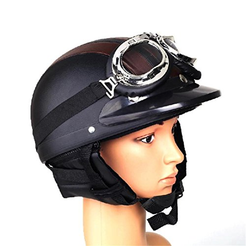 Manngsr Retro Motorcycle Helmet With Removable Helmet And Visor Goggle Helmet (Hawk Helmet Novelty)