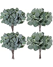 Lavora Zone Pack of 20 Artificial Seeded Eucalyptus Leaves Stems Bulk Artificial Silver Dollar Eucalyptus Leaves Plant in Grey Green 11.8 Inches Tall Artificial Greenery Holiday Greens Wedding Greenery
