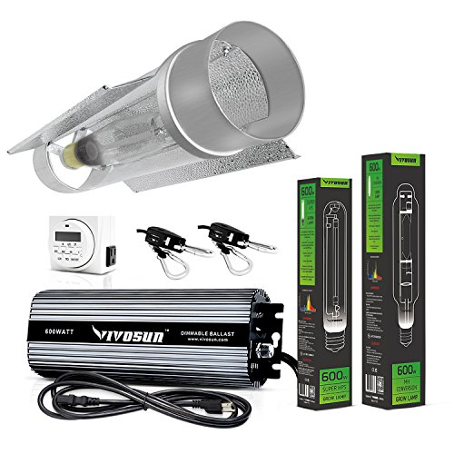 VIVOSUN Hydroponic 600 Watt HPS MH Grow Light Cool Tube Reflector Kit - Easy to set up, High Stability & Compatibility (Enhanced Version)