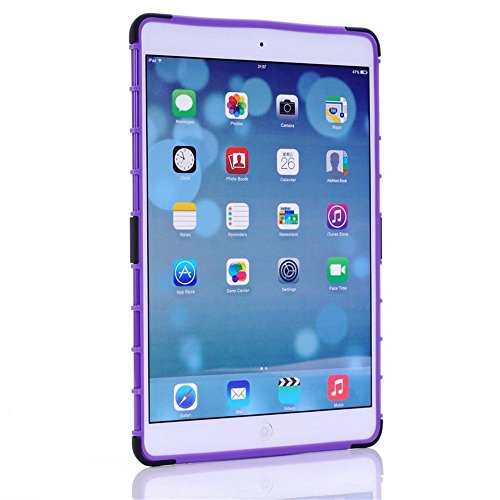 Ipad Air 2 Case, Borch Ipad Air 2 Case Cover - Shock-absorption / Impact Resistant Hybrid Dual Layer 2 in 1 Rugged Hybrid Hard/soft Drop Impact Resistant Case Cover with Built-in Kickstand for Apple Ipad Air 2 (Purple)