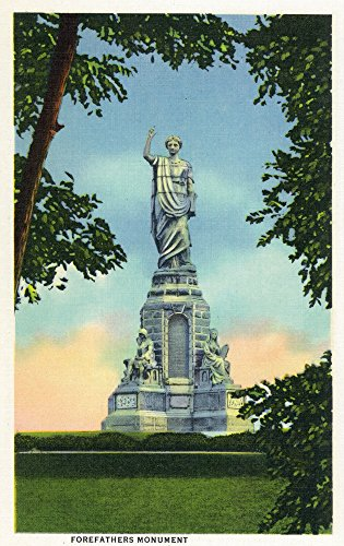 - Plymouth, Massachusetts - View of the Forefathers Monument # 2 (16x24 SIGNED Print Master Giclee Print w/Certificate of Authenticity - Wall Decor Travel Poster)