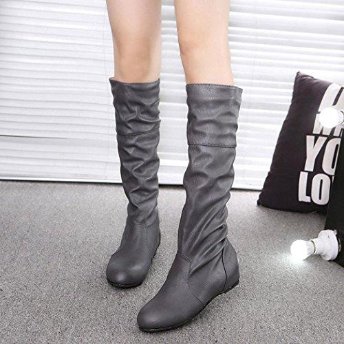 Amiley Womens Knähöga Stretch Boot Trendiga Hög Klack Skor Pådrags Boot Bekväm Lätt Häl Mörkgrå