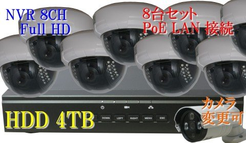 防犯カメラ 210万画素 8CH POEレコーダーSONY製 ドーム型 IPカメラ8台セット (LAN接続)HDD 4TB 1080P フルHD 高画質 監視カメラ 屋内 赤外線 夜間撮影 3.6mmレンズ B073HM7QTL