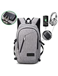 Laptop Backpack Slim Business Backpack with Headphone Jack and USB Charging Port Anti Theft Cipher Lock Travel Daypack College Bookbag Grey