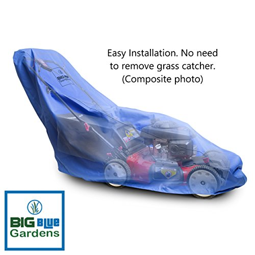Big Blue Gardens Premium Waterproof Lawn Mower Cover – Heavy Duty 600D Marine Grade Fabric – Universal Fit – Weather, Grime, Mold Protection – Drawstring Storage Bag – Unique Blue Color Reduces Heat