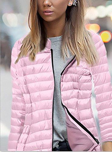 Colore Moda Caldo Zip Lungo Corto Con Inverno Giacche Piumino Elegante Puro Cappotto Giacca Casual Rose Donna Semplice Capispalla Cappuccio Manicotto xqvvBP6