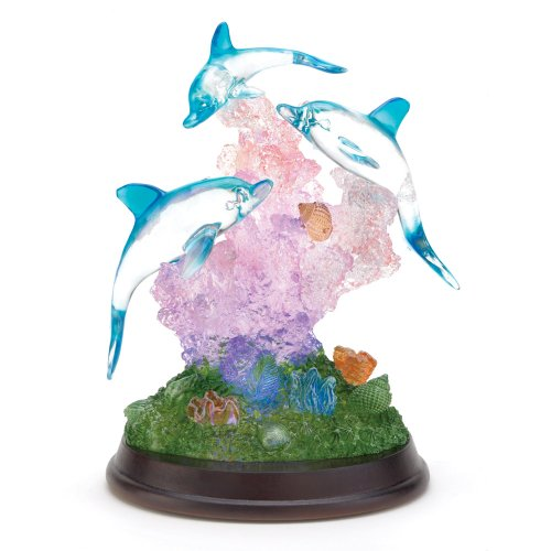 Gifts & Decor Light Up Dolphin Sculpture Figurine Desk Table (Crystal Dolphins Figurine)