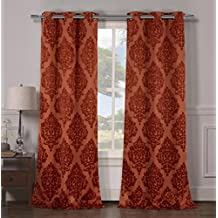 Heavy Insulated Medallion Print Energy Saving Blackout Window Grommet Top Curtains 38 inch Wide by 84 Long (Assorted Colors) Set of 2 Panel Room Darkening Drapes - Rust Orange