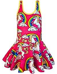 KuKiee Girls One Piece Rainbow Unicorn Swimsuit Stars Print Swimwear Bathing Suit (6-7/XL, Pink Unicorn)