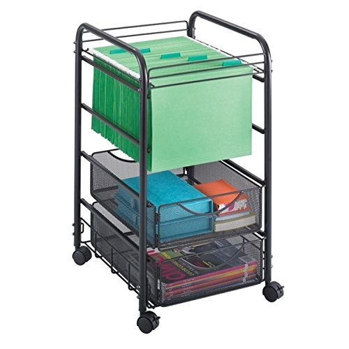 Scranton & Co 2 Drawer Mesh File Cart in Black by Scranton & Co