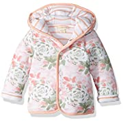 Burt's Bees Baby Baby Organic Snap Front Reversible Jacket, Tulip Flower/Stripes, 3-6 Months