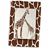 3dRose Two Watercolor with Giraffe Animal Print Jungle Safari Theme Towel, 15 x 22,