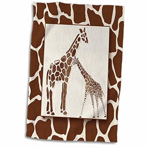 Towel Bath Safari (3dRose Two Watercolor with Giraffe Animal Print Jungle Safari Theme Towel, 15 x 22)