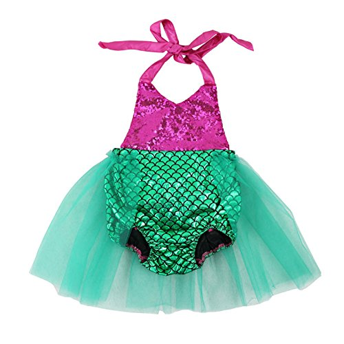 Wennikids Baby Girls Sequins Mermaid Bodysuit Romper Jumpsuit Summer Sunsuit Outfits Medium Hot -