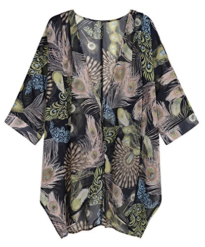 OLRAIN Women's Floral Print Sheer Loose Kimono Cardigan Capes (Small, Peacock Floral)