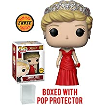 Funko Pop! Royals: The Royal Family - Diana Princess of Wales Red Dress Chase Variant Limited Edition Vinyl Figure (Bundled with Pop Box Protector Case)