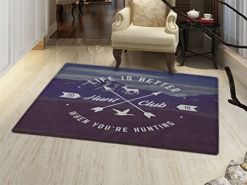 Hunting Bath Mats Carpet Grunge Retro Hunt Club Emblem with Arrows Motivating Quote Mountains Backdrop Floor Mat Pattern Brown Blue White