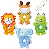 TUMAMA Baby Soft Rattles Set, Infant Developmental Hand Grip Baby Toys, Cute Stuffed Animal with Sound for 3, 6, 9, 12 Months and Newborn Gift, 4 PCS