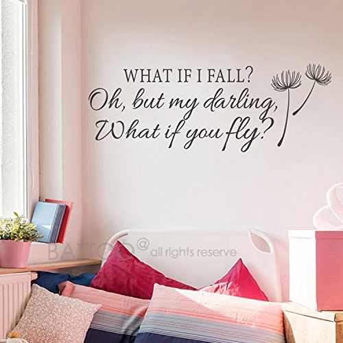 BATTOO What If I Fall Oh My Darling What If You Fly Wall Decals - Inspirational Quotes Vinyl Lettering Girls Bedroom Nursery Wall Art Decor(Black, 30