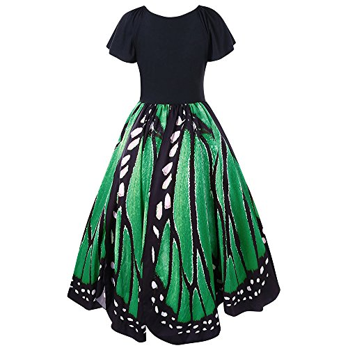Butterfly V Green Swing Dress Charmma Pattern Neck Plus Size Vintage
