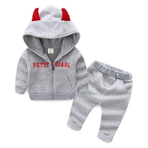 Devils Fleece - Mud Kingdom Baby Boys Outfits Fleece Lined Halloween Devil 18 Months Gray