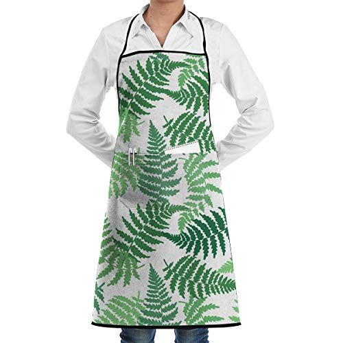 Price comparison product image Tropical Fern Leaf Aprons Bib Adjustable Polyester Unisex Long Full Kitchen Chef Cooking Gardening Apron for Indoor Restaurant BBQ Serving Grill Cleaning Crafting Baking