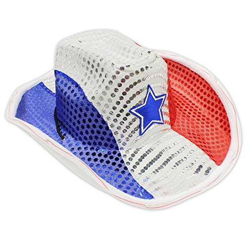 blinkee Red White Blue USA Stars and Stripes LED Flashing Cowboy Hat by -