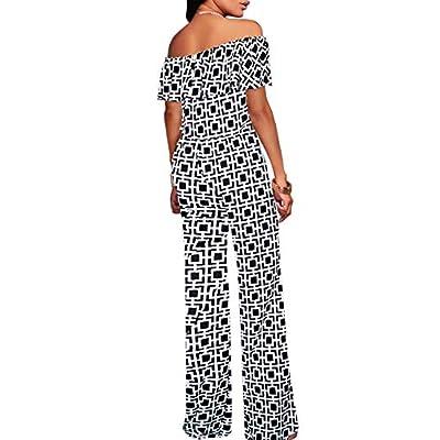 HyBrid & Company Women Off Shoulder High Waist Wide Leg Pants Jumpsuit Romper: Clothing