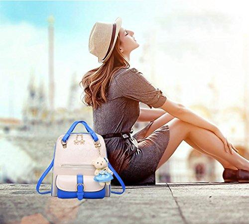 portés Femme Sacs portable bandoulière main dos Sac Sacs Sacs d'ordinateur Faux bandoulière Cuir à Sacs Bleu Blanc portés DEERWORD E6qwdcSE