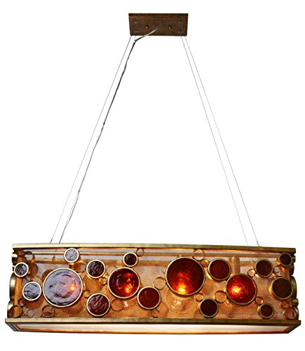 Varaluz 165N04KO Fascination 4-Light Linear Pendant - Kolorado Finish with Amber Recycled Bottle Glass