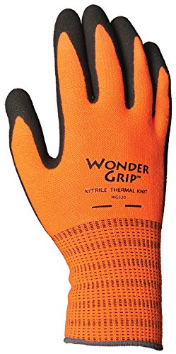 (Wonder Grip WG520L Insulated Knit Extra Tough Work Gloves Textured Double-Coated Nitrile Palm, Large, Large)