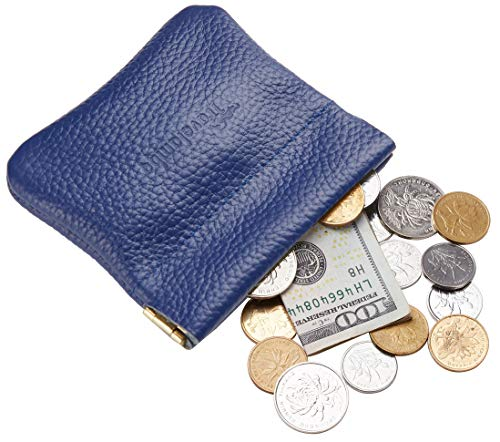 - Travelambo Leather Squeeze Coin Purse Pouch Change Holder For Men & Women (pebble Blue Navy)