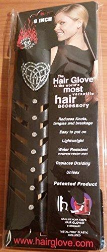 "Hair Glove 8"" Metal Tribal Heart w/ Herringbone Cutout Black Leather Tail Holder 31849"
