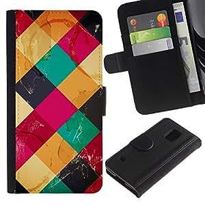 For Samsung Galaxy S5 V SM-G900,S-type® Quilted Polygon Pattern Pink Yellow - Dibujo PU billetera de cuero Funda Case Caso de la piel de la bolsa protectora