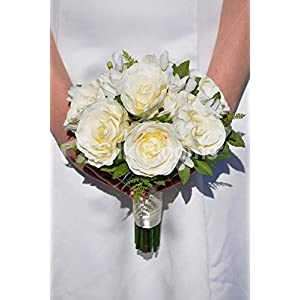 Ivory Large Fresh Touch Roses, Freesia & Green Foliage Vintage Wedding Bridesmaid Bouquet
