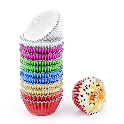 Bakuwe Mini Foil Cupcake Liners Colorful Muffin Baking Cups, Pack of - Foil Mini Cups Baking