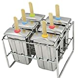 Stainless Steel Popsicle Molds and Rack stainless steel popsicle maker -ice pop molds bpa free -ice Cream Mold pop molds with wooden sticks-ice pop maker molds ( 6 Ice Pop bottom is flat mould (Color: Stainless Steel, Tamaño: 6 cavity molds box)