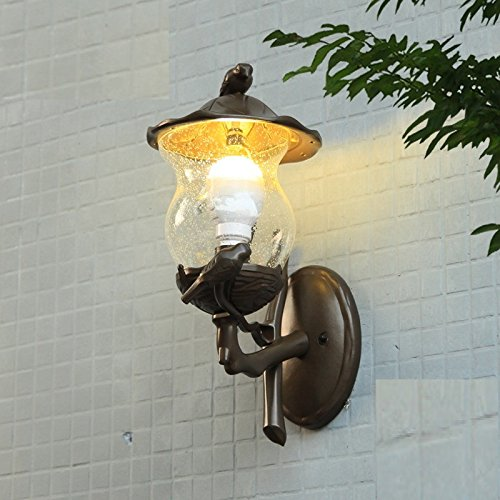acquista marca Continental waterproof outdoor wall lamp aisle lights outdoor balcony American American American pastoral style birds lamp Rural wall lamp Creative  si affrettò a vedere