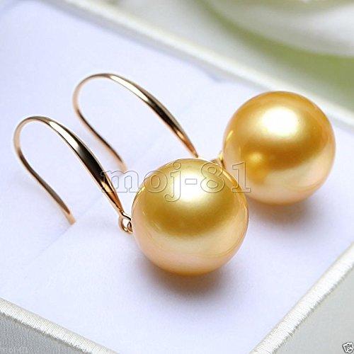 moj-81 Huge 14mm Tahitian Golden South Sea Shell Pearl 14k Gold Plated Dangle Earrings